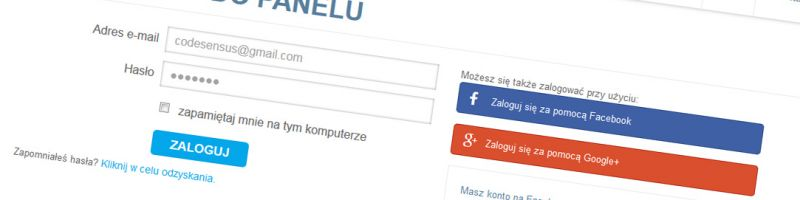 Logowanie za pomocą Facebooka i Google+